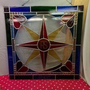 Vintage Stained Glass square shape with star